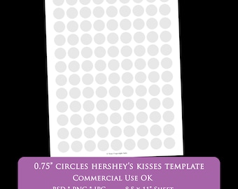 """0.75 inch circle digital collage sheet template hershey's kiss 8.5 x 11"""" party printable template psd png Commercial Use Personal 1"""" 2"""""""