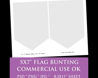 """flag banner party bunting digital template 8.5 x 11"""" 5 x 7"""" flag party printable template psd png Commercial Use Personal pennant banner"""