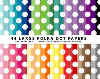 """Polka Dot Large Digital Paper Pack 12"""" x 12"""" Commercial and Personal Use - printable 44 sheets basic rainbow INSTANT DOWNLOAD"""