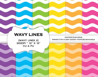 """Rainbow Digital Paper Pack 12"""" x 12"""" Commercial and Personal Use multicolored girl printable stripe wavy chevron star dot INSTANT DOWNLOAD"""