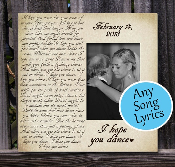 Any Song Lyrics Picture Frame Custom Gift Personalized Gift Etsy