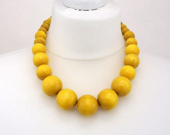 Yellow Chunky Necklace   Yellow Wooden Bead Necklace   Yellow Statement Necklace