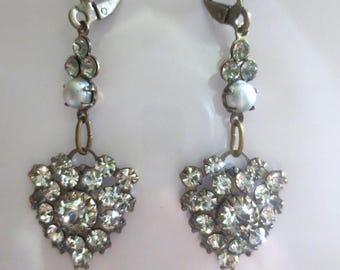 Art Nouveau earrings Art Deco earrings Edwardian vintage style crystal drop earrings dainty pearl crystal drop earrings