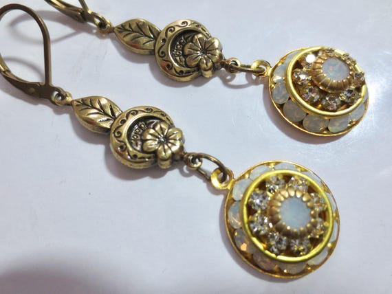Art Deco Ohrringe Opal Ohrringe Vintage Stil viktorianischen Ohrringe Kristall Jugendstil Ohrringe Renaissance zierliche Braut Ohrringe