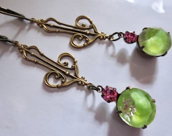 Art Deco Art Nouveau green glass and crystal drop vintage style Edwardian Victorian green givre earrings