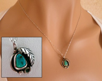 Turquoise and Sterling Silver Pendant Necklace, 18 inch 45.5 cm Sterling Silver Chain, Boho Southwestern Country Western Wear, ID 270161684