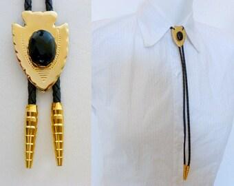 Bola Bolo Tie, Gold Finish Arrowhead w Black Agate Stone, Boho Southwestern Country Western Wear Indian Cowgirl Cowboy Necktie, ID 471996627