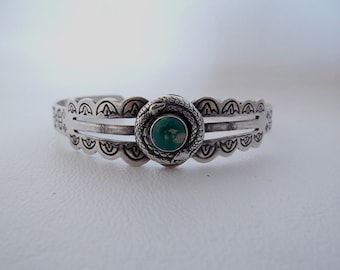 Cuff Bracelet, Snakes Coiled Around Turquoise, Silver Plated over Copper, Vintage, Boho Southwestern Country Western Wear, ID 245001197