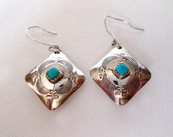 Vintage Southwestern Dangle Earrings, Turquoise, Stamped 925 Sterling Silver, December Birthstone, Boho Country Western Wear, ID 471560413