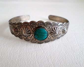 Vintage Cuff Bracelet, Fred Harvey Style with Corrugated Repousse and Turquoise, Boho Southwestern Country Western Wear, ID 257292297