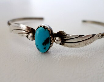 Thin Cuff Bracelet, Vintage Sterling Silver w Turquoise Stacking, December Birthstone, Boho Southwestern Country Western Wear, ID 526859108