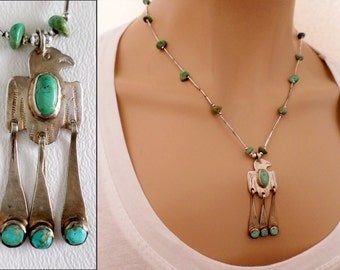 Sterling Silver and Turquoise Thunderbird Pendant and Liquid Silver Necklace, Boho Southwestern Country Western Wear, ID 488302319