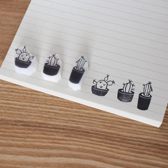 Cactus Rubber Stamp Hand Carved Set Of 3 Or