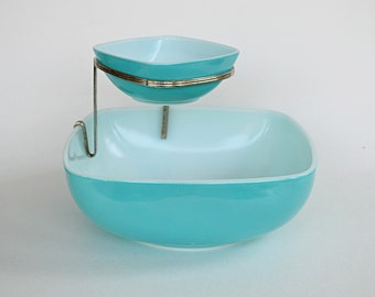 Pyrex Chip and Dip Set Turquoise, Square Dish, Brass Bracket, HTF