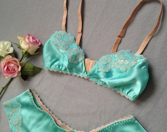 0bc9fbe4ce Silk Lingerie Set Bralet and French Knicker with Lace Appliqué Handmade to  Order Bridal Wedding