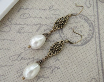 Ivory Cream Glass Pearl Drop Earrings Vintage Bronze Style