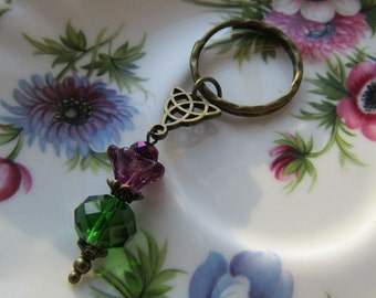 Sassenach Keyring Thistle Embroidery Handmade Purple Outlander keyring Inspired
