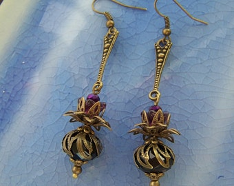 Vintage Style Steampunk Thistle Earrings