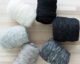 Needle Felting Wool - 1 oz. Felter's Fleece - Gray Black Cream - textured heathered batting - You Choose Color