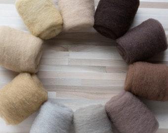 Needle Felting Wool - Felter's Palette - Browns - 1 oz. carded batts batting - You Choose Color
