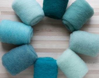 Needle Felting Wool - Felter's Palette - Bluegreens - you choose color - 1 oz. carded batts batting