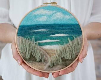 Beach View Needle Felting Kit - beginner friendly - includes video instructions - DIY Craft Gift - Ocean Landscape