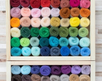 Felter's Palette needle felting wool - 72 colors - every color rainbow pack - premium US short staple wool batting