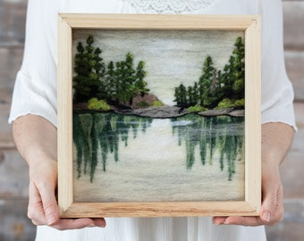 Lake Reflections Needle Felting Kit - DIY craft art gift - includes video instructions - landscape painting with wool