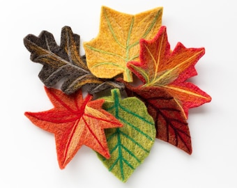 Fall Leaves Needle Felting Kit - beginner friendly - includes video instructions - DIY Craft Gift - Halloween Autumn Decoration