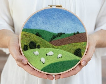 Grazing Sheep Needle Felting Kit - beginner friendly - includes video instructions - DIY Craft Gift - farm painting with wool