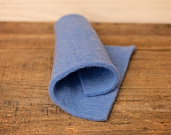Cornflower Bluegrass Prefelt for needle felting or wet felting - medium blue - domestic wool - handmade on a FeltLOOM