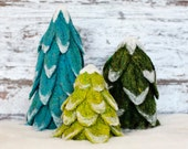 Evergreen Trees Needle Felting Kit - Holiday Christmas - decoration - wool - pine trees - diy - learn a new craft