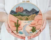 Desert Trail Needle Felting Kit - beginner friendly - includes video instructions - DIY Craft Gift - Southwest Landscape Painting with Wool