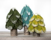 Evergreen Trees Needle Felting Kit - beginner friendly - includes video instructions - DIY Craft Gift - Holiday Christmas