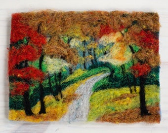 Fall Foliage Needle Felting Kit by Felted Sky Studio DIY Feltscape Wool Landscape Painting learn a new craft