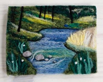 Woodland Stream Needle Felting Kit by Felted Sky Studio DIY Feltscape Wool Landscape Painting