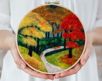 Fall Foliage Needle Felting Kit - beginner friendly - includes video instructions - DIY Craft Gift - Autumn Landscape