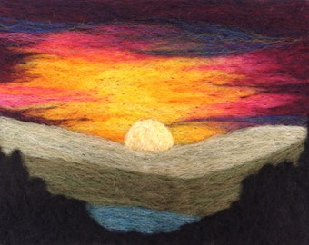 Mountain Sunset Needle Felting Kit Landscape Feltscape Wool Painting Picture DIY makes a great gift