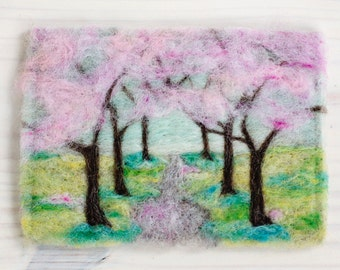 Cherry Blossoms Needle Felting Kit Feltscape Landscape Wool Painting DIY learn a new craft