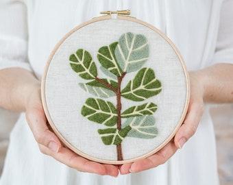 Fiddle-Leaf Fig Needle Felting Kit - beginner friendly - Coloring with Wool - DIY Craft Gift - printed pattern modern hoop art