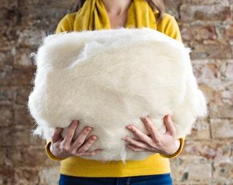 2 lb. Core Wool Batting For Needle Felting, Wet Felting, Natural stuffing, or Newborn Photos fill cream colored fiber aka Simply Fluff
