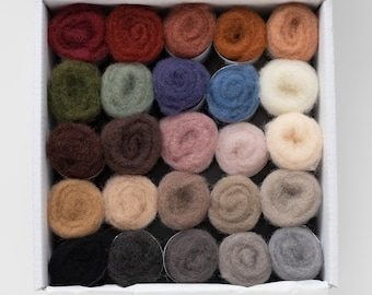 Needle Felting Wool Colorbox - Dani Ives' favorite pet portrait colors - painting with wool - soft short staple wool batting