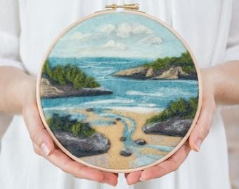 Coastal Waters Needle Felting Kit - beginner friendly - includes video instructions - DIY Craft Gift - Landscape