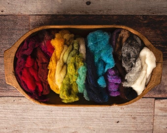 Needle Felting Wool - rainbow scrap bag - Batting and Roving - value pack of many colors
