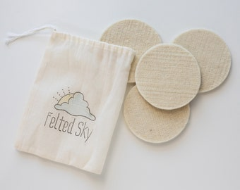 Wool Coaster Blanks for Needle Felting - made in USA - round cream natural - DIY craft
