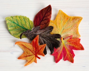Fall Leaves Needle Felting Kit by Felted Sky Studio Halloween Autumn Wool Decoration Centerpiece DIY learn a new craft with video tutorial