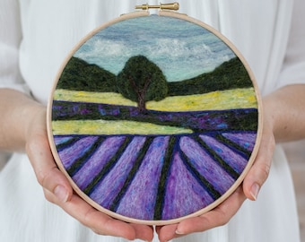 Lavender Fields Needle Felting Kit - beginner friendly - includes video instructions - DIY Craft Gift - Painting with Wool