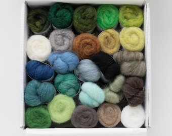 Needle Felting Wool Colorbox - landscape colors - painting with wool - two types of batting and one type of roving