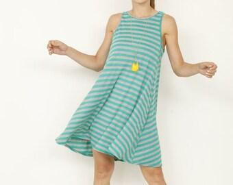 Stripe A-Line dress with pockets