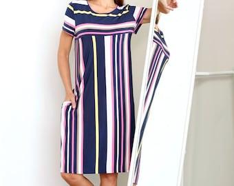 Multicolored Short Sleeve Midi Dress